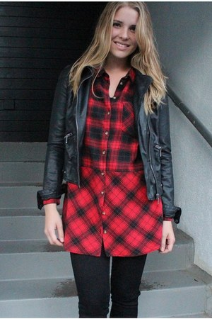 red H&M shirt - black faux leather Zara jacket - black H&M pants