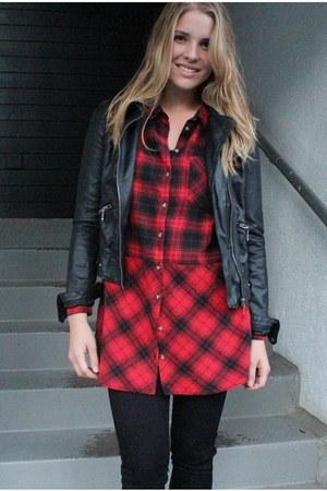 red H&M shirt - black faux leather Zara jacket - black H&M pants
