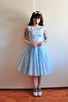 sky blue cotton vintage dress - Swedish Hasbeens clogs