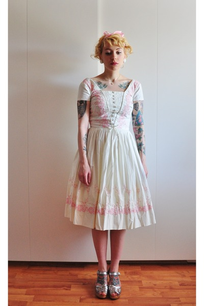 vintage dress - Swedish Hasbeens clogs