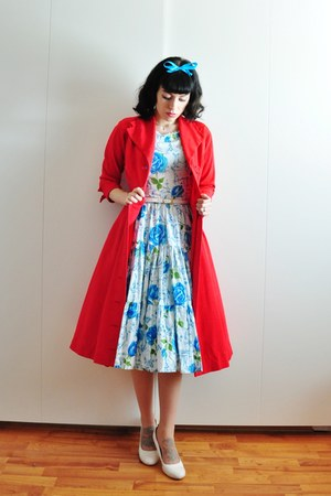 red 50s vintage coat - 50s cotton vintage dress