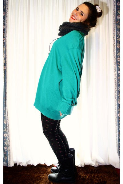 turquoise blue Primark jumper - black Marypaz boots - black Primark tights