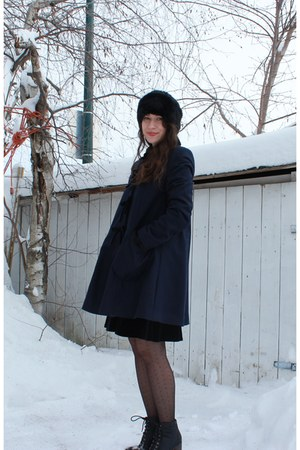 black Steve Maden boots - navy Topshop coat - black Zara hat
