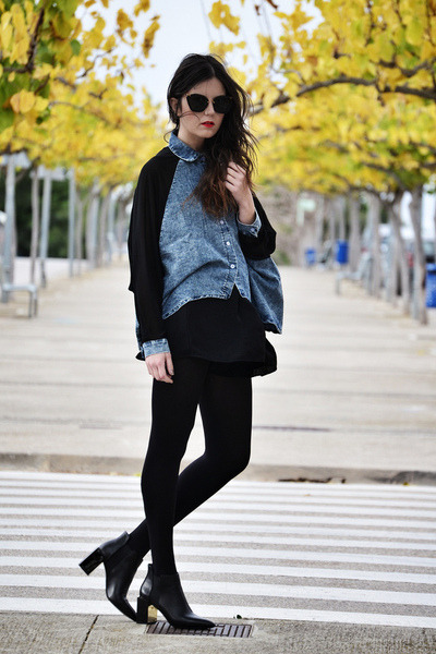 leather Zara boots - Sheinside coat - OASAP shirt - Miu Miu sunglasses