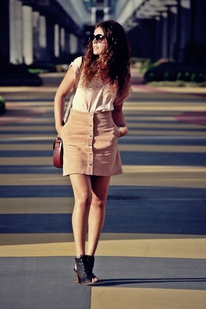 Topshop skirt - Zara blouse - HBYHUDOSN heels