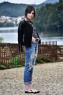 Zara-jeans-leather-mango-jacket-vagabond-sandals-even-odd-top