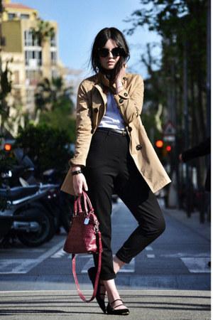 OASAP coat - Furla bag - Miu Miu sunglasses - asos pants - Zara flats
