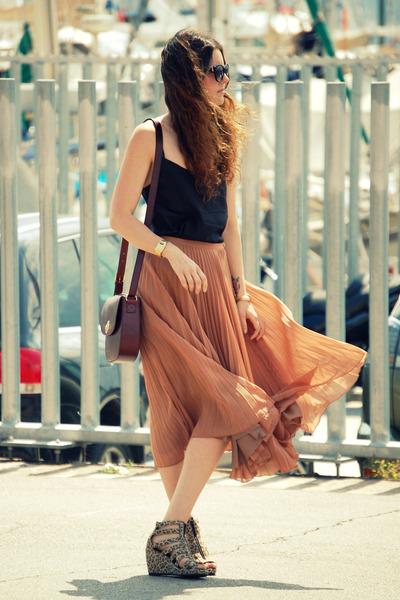 H&M wedges - Zara skirt - H&M top