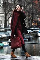 Zara coat - suede The Fab Shoes boots - asos dress - Zara scarf - Zara bag