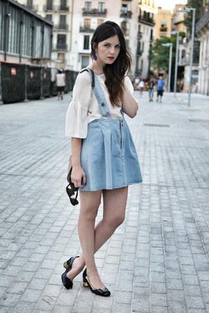 Zara blouse - patent leather Uterque shoes - Stylish Plus dress - Zara earrings