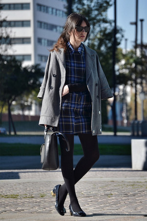 Bershka coat - inlovewithfashion dress - Zara bag