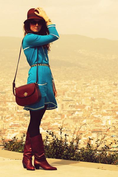 Uterque bag - vintage boots - H&M dress - Zara hat - River Island belt