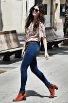 vintage shirt - Jeffrey Campbell boots - Topshop jeans - Ray Ban sunglasses