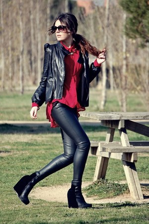 romwe jacket - Nelly boots - Zara leggings - Stradivarius shirt