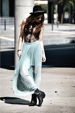 H&M skirt - leather Zara boots - Zara hat - jovonna london shirt