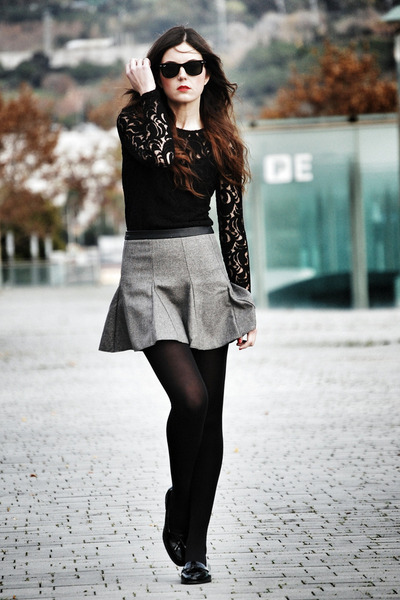 lace Sugarlips top - suiteblanco skirt - patent leather Miss Selfridge loafers