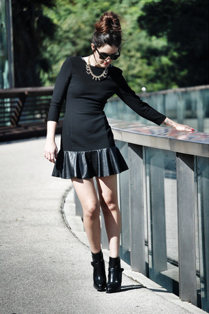 leather Zara boots - mixed Zara dress - Zara necklace