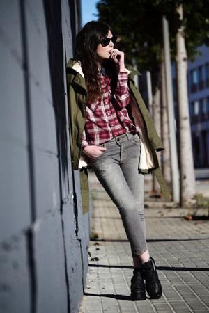 sammydress boots - Sheinside coat - obey shirt