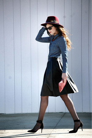 zalando skirt - Parfois hat - suiteblanco shirt - zalando bag - Zara heels