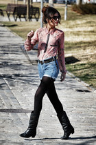 Sfera shirt - vintage boots - Levis shorts - Mango belt