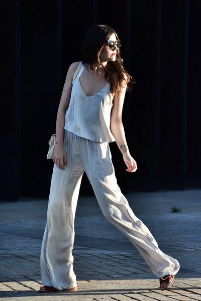Zara romper - Brussosa bag - Bottega Venta sunglasses - Zara sandals