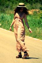 chiffon Sfera dress - H&M hat - leather Zara clogs