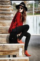 Parfois hat - Jeffrey Campbell boots - Topshop jeans - Zara sweater