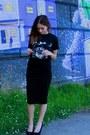Thrifted-t-shirt-forever-21-skirt-steve-madden-wedges