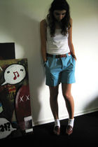 blue aigner shorts - brown shoes