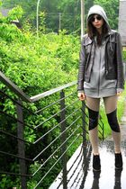gray H&M sweater - gray jacket - beige H&M leggings - black Urban Outfitters sho