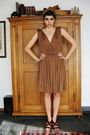 Brown-aigner-dress-brown-bata-shoes