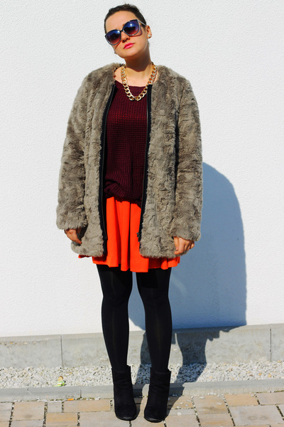 carrot orange H&M dress - charcoal gray faux fur zalando coat