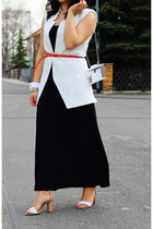 beige Zara heels - black london dress - white Zara vest - carrot orange H&M belt