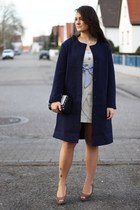 navy H&M coat - beige vintage dress - camel H&M heels