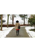 orange H&M dress - faux fur zalando coat - black Capelli New York hat