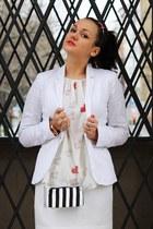 white Tally Weijl blazer - white selfmade skirt - eggshell Zara blouse