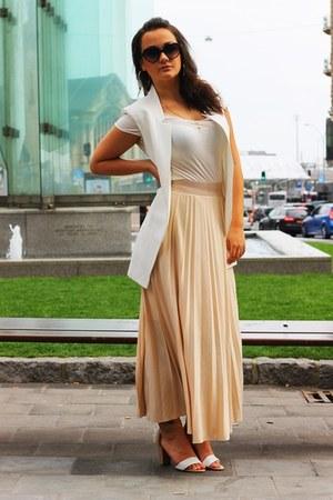 nude Vero Moda skirt - white Zara shirt - ivory Zara vest - eggshell Zara heels