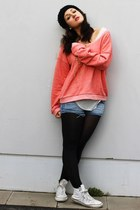 black vintage hat - salmon red label sweater - periwinkle denim H&M shorts