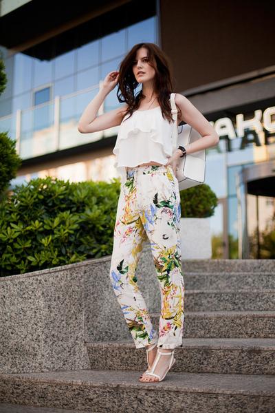 white new look bag - white Sheinside pants - white Sheinside top