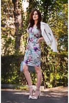 white Mango sandals - periwinkle Little Mistress dress