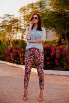 sky blue Stradivarius shirt - hot pink Koton pants