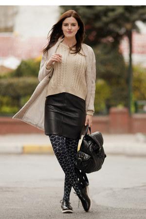 black asos skirt - tan Sheinside coat
