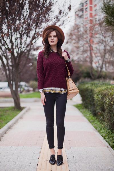 crimson Sheinside sweater - black Zara jeans - tan Zara hat