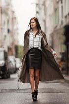 black Toga Pulla boots - charcoal gray Adamo coat - ivory Bella Dahl blouse