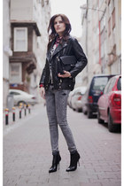 black BangGood jacket - heather gray Bershka jeans - black Zara bag