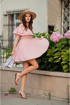 light pink Chicwish dress - periwinkle Rebecca Minkoff bag