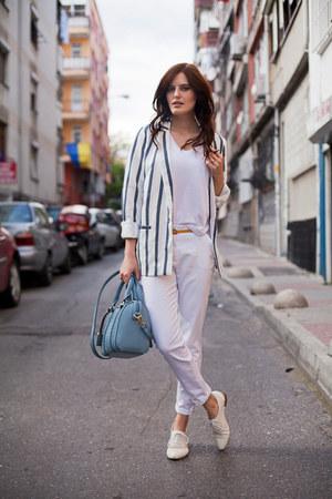 white PERSUNMALL blazer - sky blue PERSUNMALL bag - white Zara pants