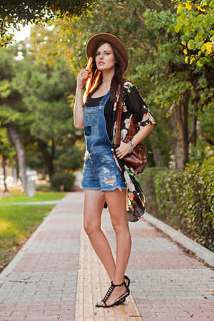 black Sheinside jacket - blue Stradivarius romper