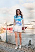 white Koton shorts - periwinkle Fusion t-shirt