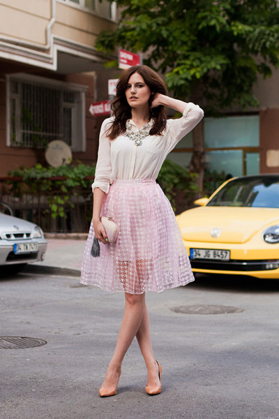 Baby Pink Midi Skirt - Dress Ala